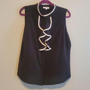 Black Calvin Klein blouse with ruffle